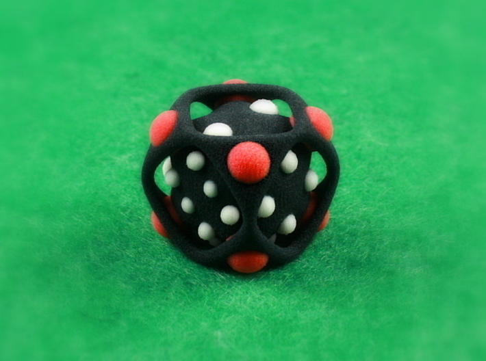 Dice No.2-c Red S (balanced) (2.4cm/0.94in) 3d printed