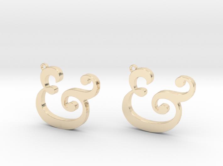 Ampersand Earrings (Caslon Pro Italic) 3d printed