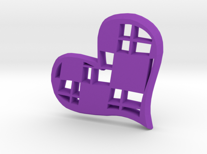 Checkered Heart - Pendant 3d printed