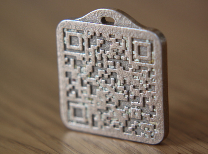 Keychain with Your Own Bitcoin QR code 3d printed As received from Shapeways