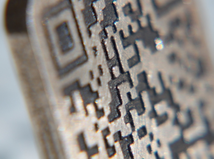 Keychain with Your Own Bitcoin QR code 3d printed Close-up of low parts painted black