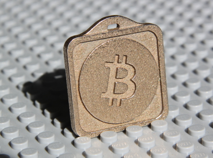 Keychain with Your Own Bitcoin QR code 3d printed Back side