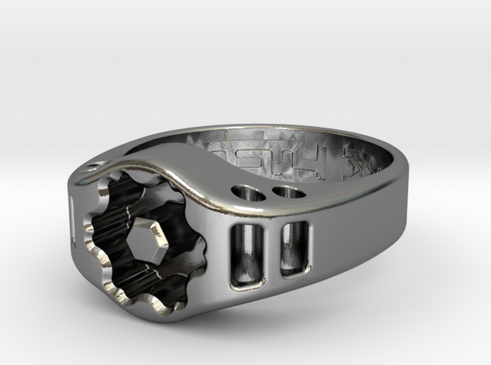 US13 Ring XIX: Tritium (Silver) 3d printed