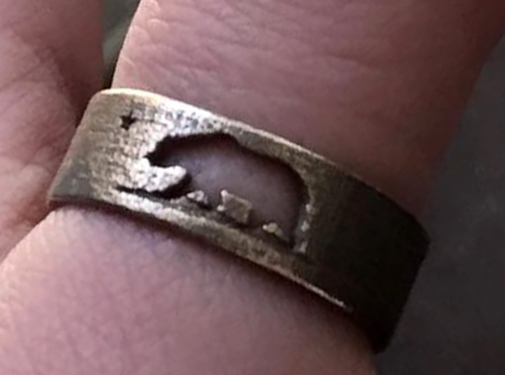 California Ring with Map (Size 9) 3d printed California bear