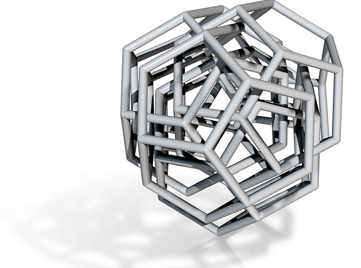 Four interloking dodecahedra 3d printed
