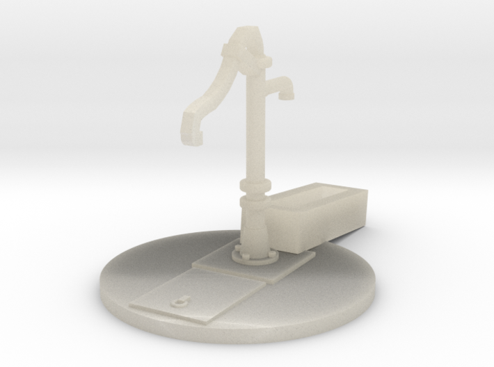 Hand Pump, Water with Base and Trough HO Scale 3d printed