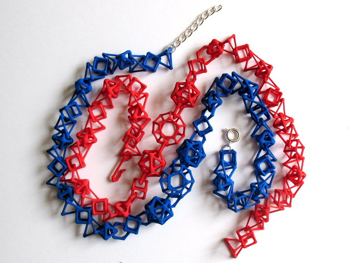 "Coral Bones choker - 19"" 3d printed Chokers printed in red and blue strong and flexible plastic. Blue choker shows optional replacement of 3D-printed hook clasp with ring clasp and chain."