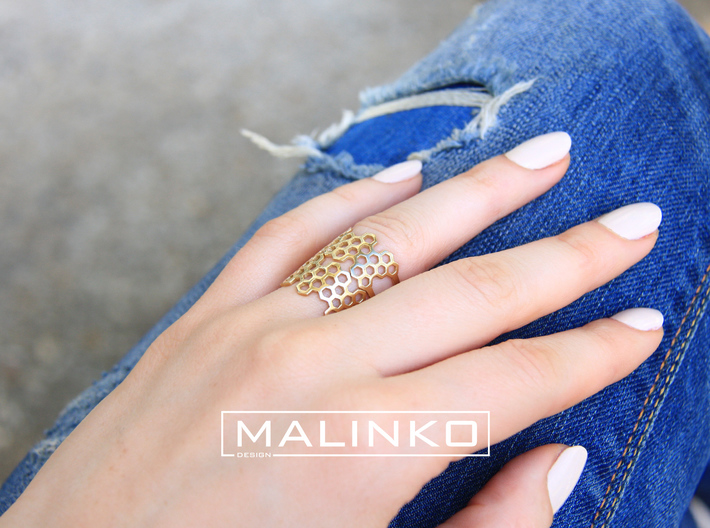 Honeycomb Ring Size 6 (16.5mm) 3d printed Add a caption...
