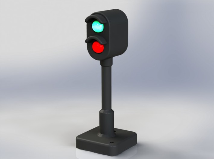 OO Signal Light for Model Railways 3d printed With 5mm LEDs shown