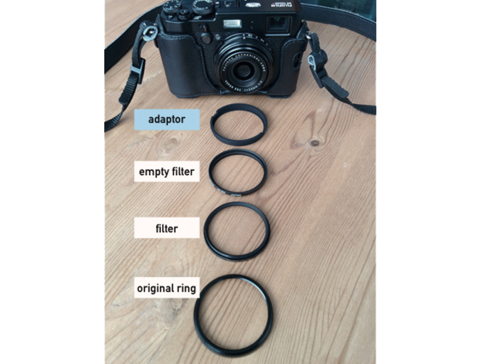 Lens Cap Adaptor for DIY Filter on Fujifilm X100 3d printed You need an additional filter without the glass
