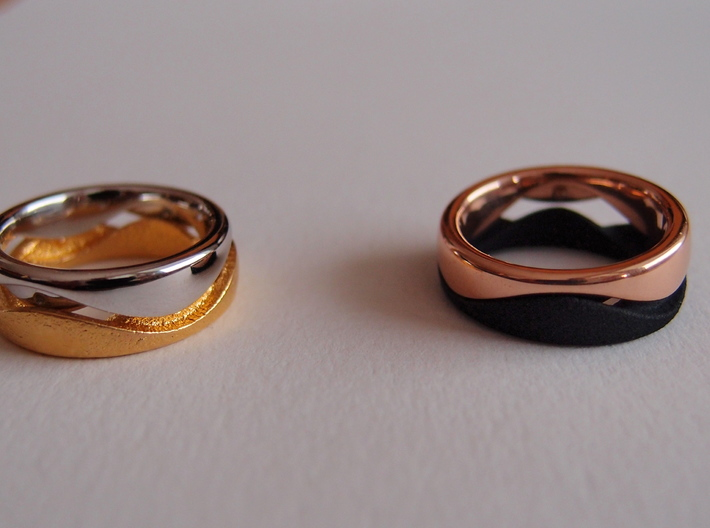 Swing Ring half barrel shaped Diameter 17 mm 3d printed matte gold plated steel / rodhium plated bronze // rose gold plated bronze / strong & flexible black