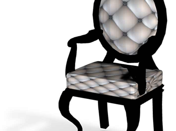 1:144 Micro Scale SilverBlack Louis XVI Oval Chair 3d printed