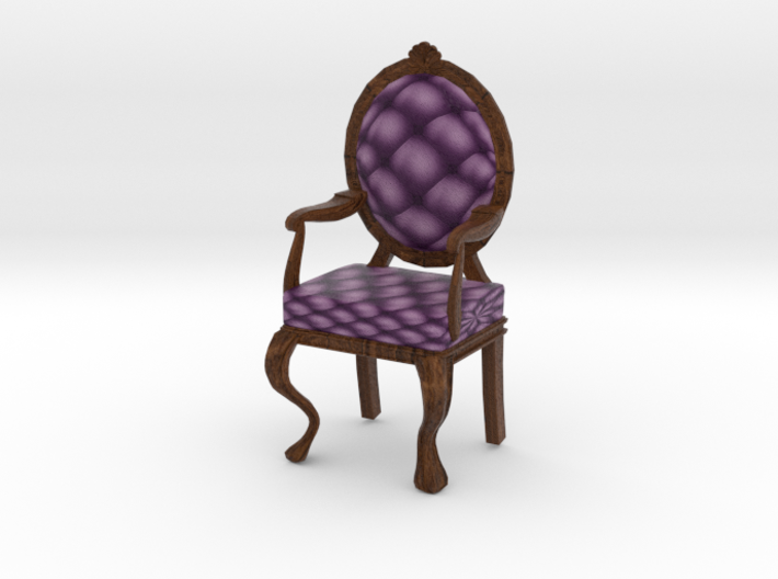 1:12 One Inch Scale VioletDark Oak Louis XVI Chair 3d printed