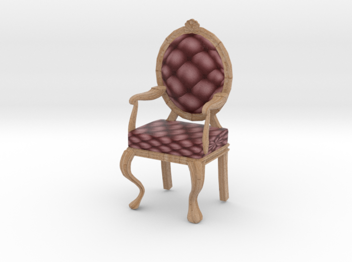 1:12 One Inch Scale MaroonPale Oak Louis XVI Chair 3d printed