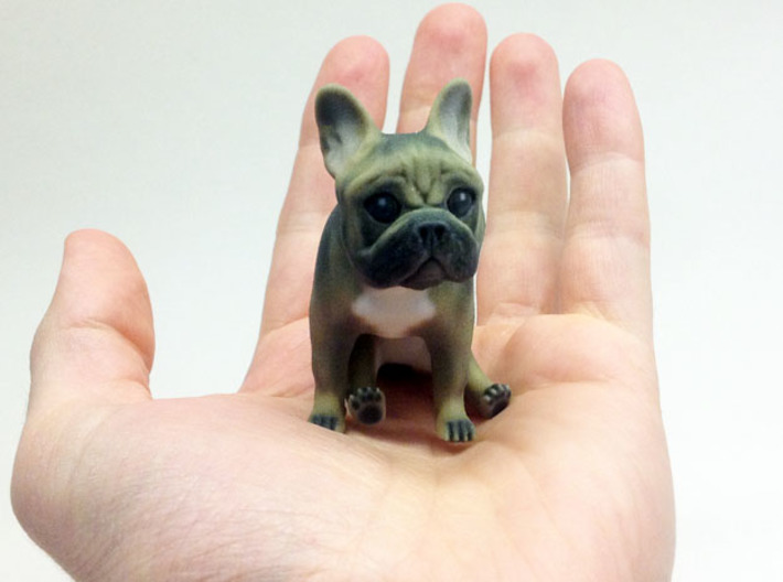 Sitting Brown Frenchie 3d printed