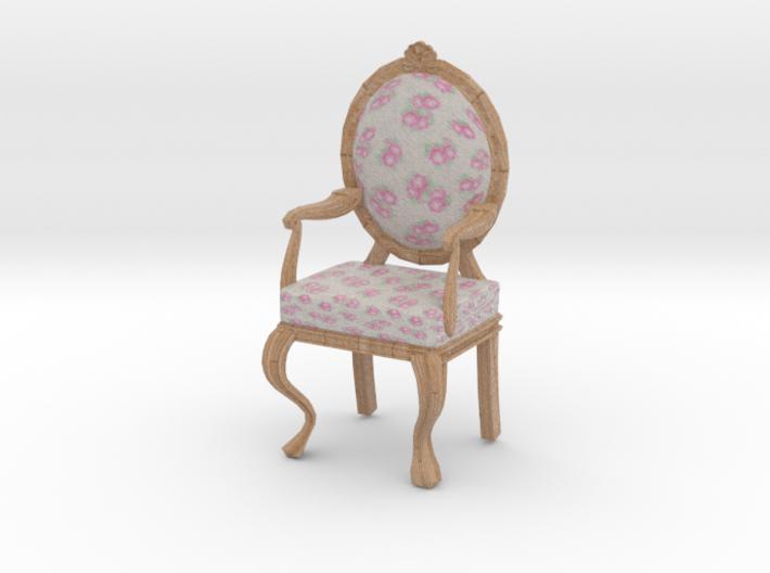 1:12 Scale Cream Chintz/Pale Oak Louis XVI Chair 3d printed
