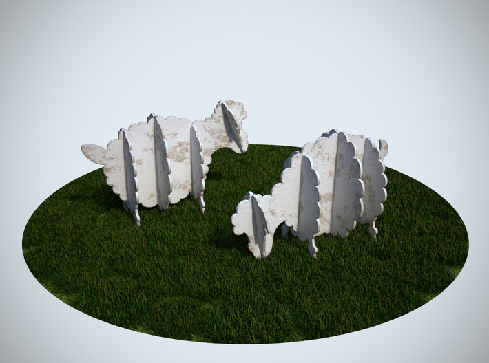 Wooden Sheep 1:24 3d printed 3Ds Max Render