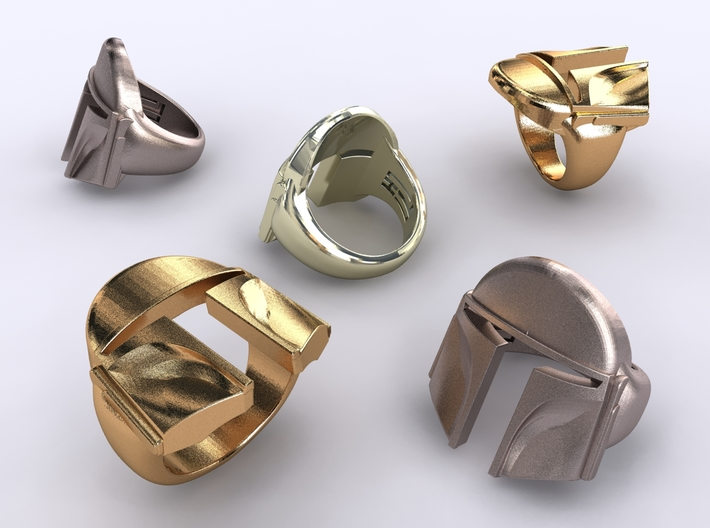 Boba Fett ring 3d printed Stainless steel, gold plated matte & premium silver render