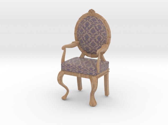 1:12 Scale Purple Damask/Pale Oak Louis XVI Chair 3d printed