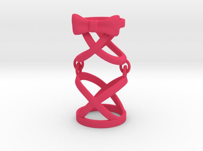 Interlocked Ribbon Full Finger Ring 3d printed