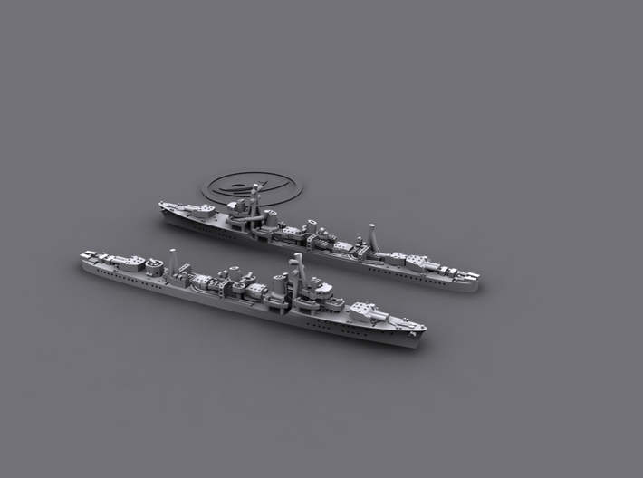 1/3000 IJN DD Shiratsuyu (4+6) 3d printed F: 1944 version; B: 1942 version
