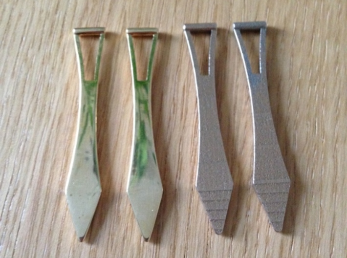 Metal Shirt Collar Stays (Pair) 3d printed Polished Brass on the left, Stainless Steel on the right
