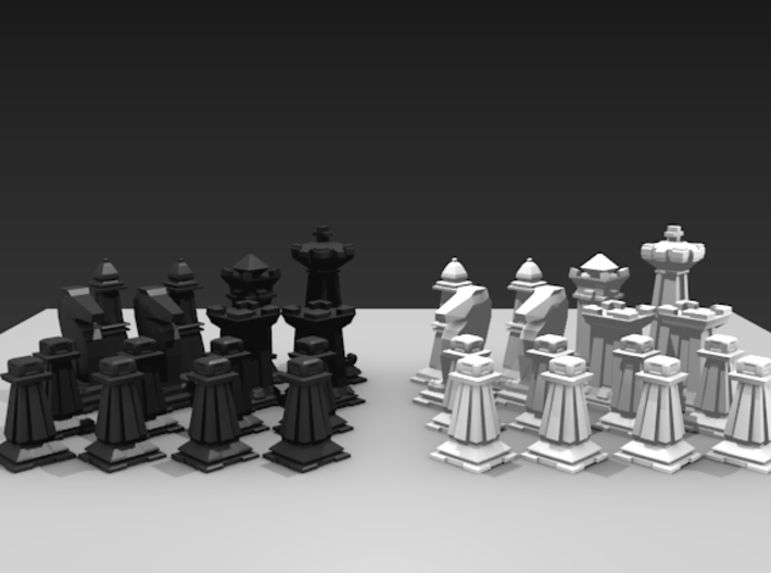 Mini Chess Set - One Player's Pieces 3d printed Two teams shown for different colors.