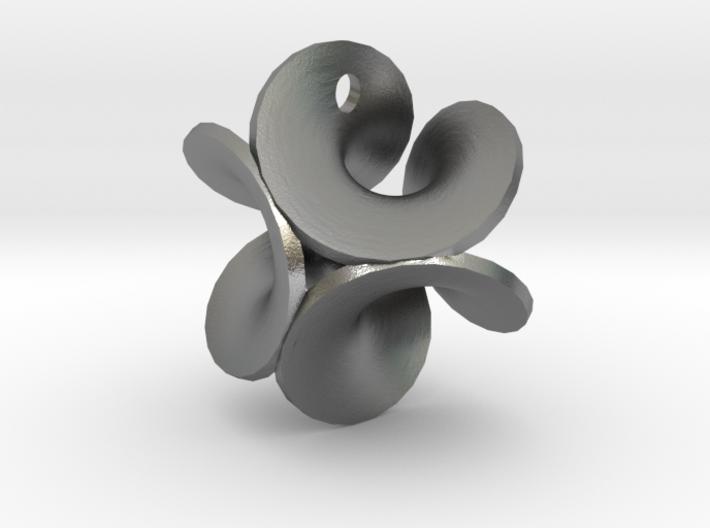 Enneper Earring Silver 3d printed