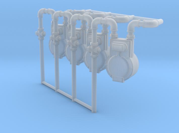 Gas Meters 1/24 scale x4 3d printed