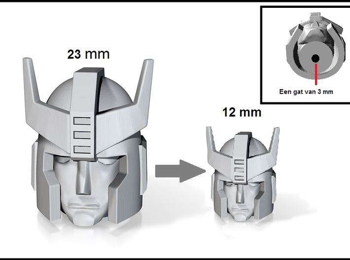 Prowl G1 Head 12mm 3d printed