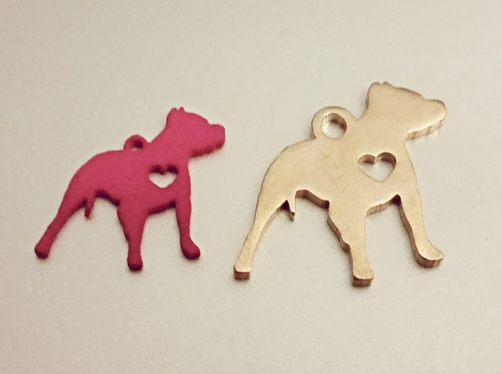 Pittie Love Earring 3d printed Next to the pendant size Pittie.