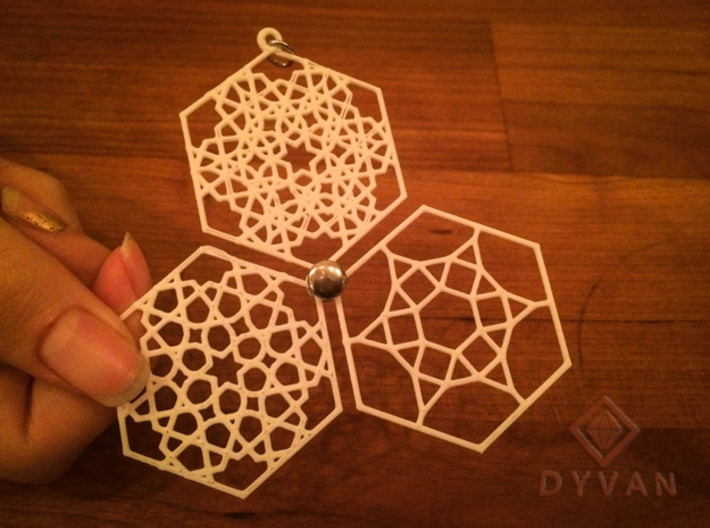 Pendant with layered mosaic patterns 3d printed