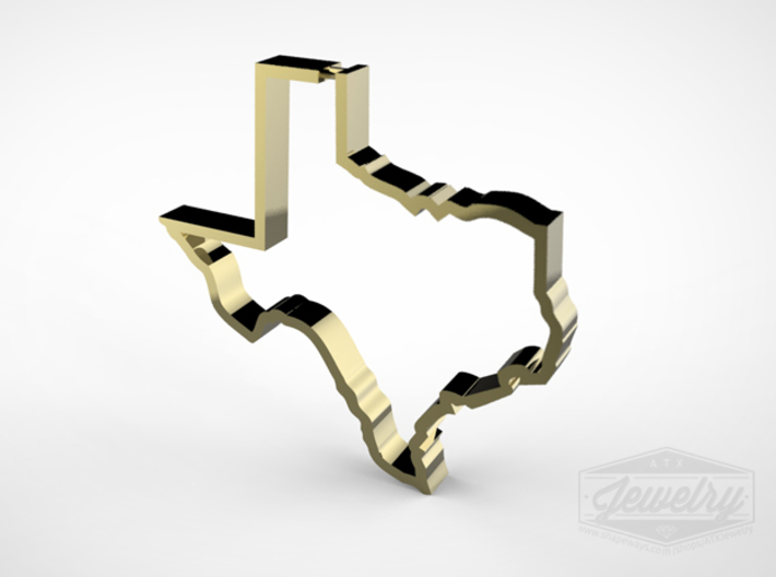 Texas Outline Pendant 3d printed Polished Brass