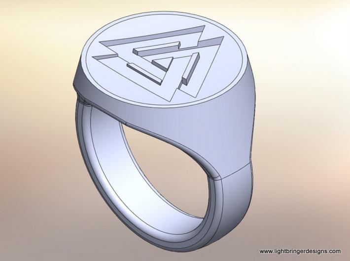 Valknut Signet Ring 3d printed Rendering of the ring