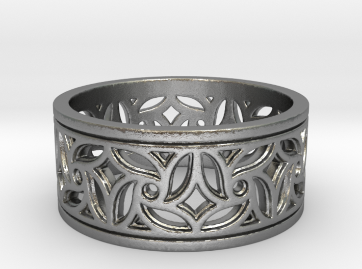 Gothic Pinwheel Tracery Ring (Open) 3d printed