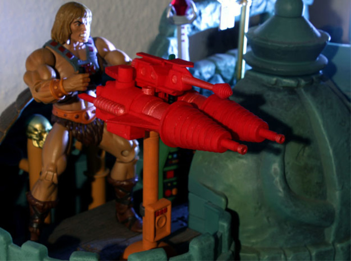 Castle Grayskull Prototype Turret Cannon Stand (Mi 3d printed Painted Prototype printed in White Strong & Flexible Polished