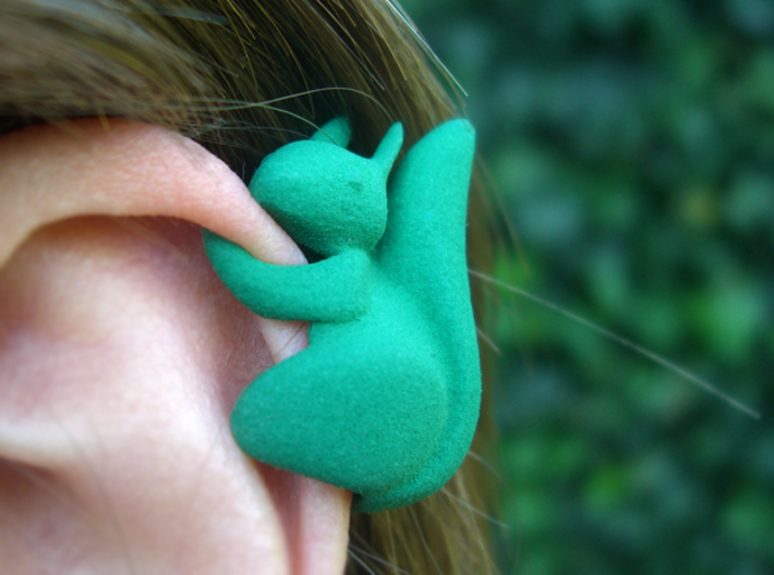 Ear Squirrel - ear cuff (left) 3d printed this one is to be worn on your left ear! no holes needed!