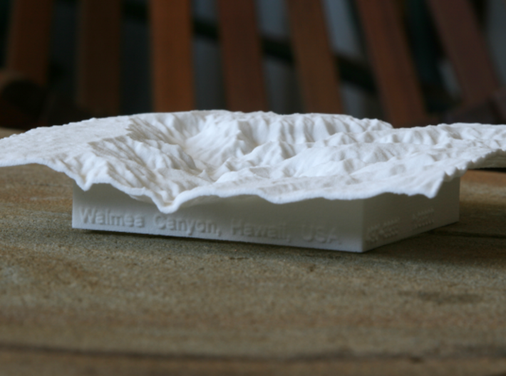 "4'' Waimea Canyon Terrain, Hawaii, USA 3d printed Photo of 4"" model, looking North up the main canyon"
