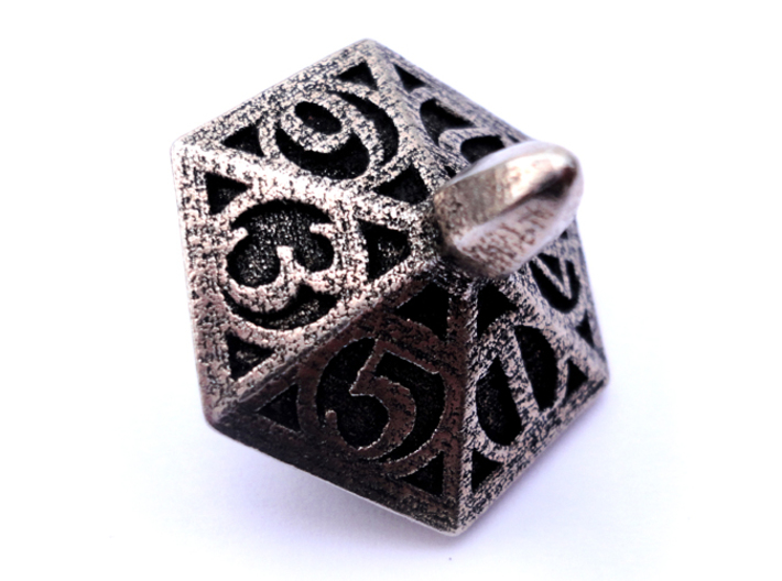 Top Die6 3d printed In stainless steel and inked.
