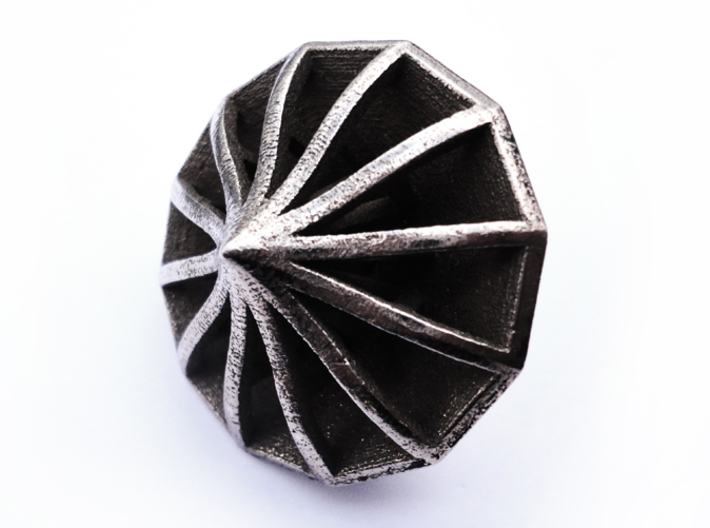 Top d12 3d printed In stainless steel and inked.