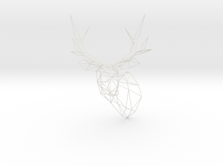 Stag Deer Polygon Trophy Head XL Facing Left 3d printed