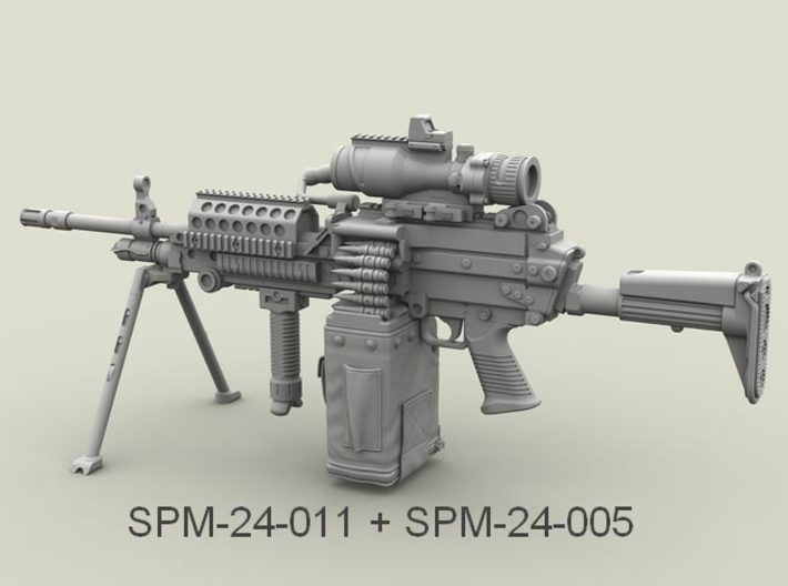 1/24 SPM-24-011 m249 MK48mod0 7,62mm machine gun 3d printed
