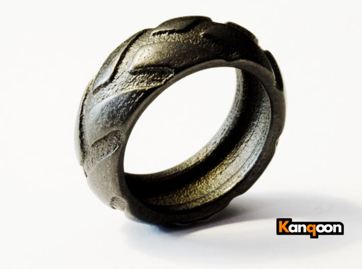 r8x45 - Tire Ring 3d printed Matte Black Steel printed