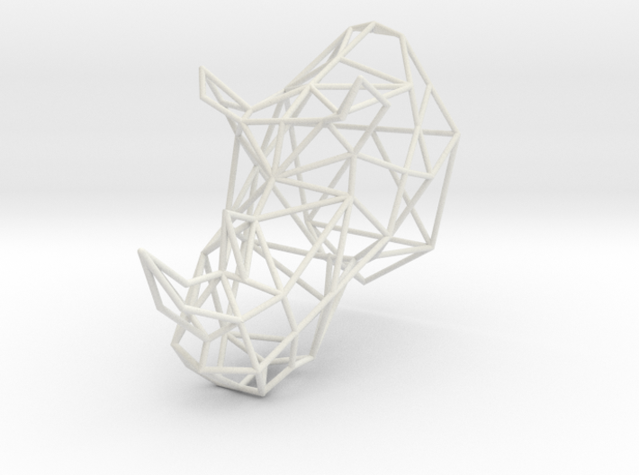 3D Printed Wired Life Rhino Trophy Head Medium 3d printed