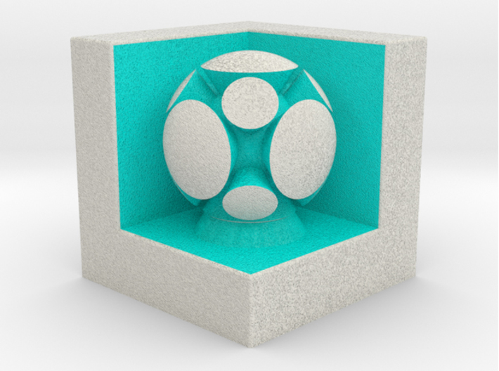 LuminOrb 2.5 - HARMONY 3d printed Shapeways render of HARMONY on a matching color Cube Display Stand (optional)
