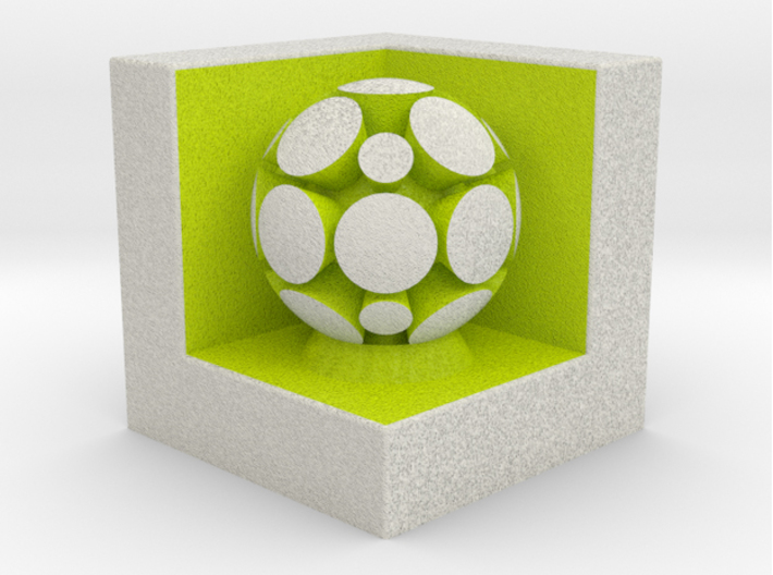 LuminOrb 2.7 - GRATITUDE 3d printed Shapeways render of GRATITUDE on a matching color Cube Display Stand (optional)