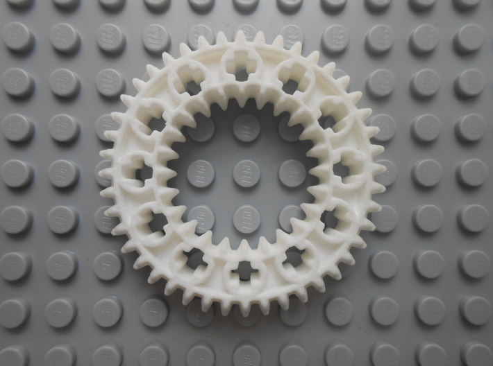 LEGO®-compatible z44 bevel gear w/ z24 inner ring 3d printed