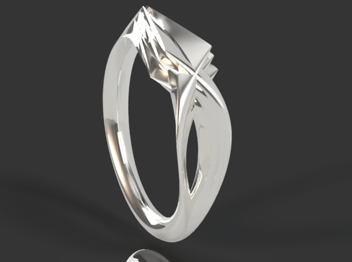 Pride Ring, Side 1 3d printed Initial Design - shows interlocking pattern or ring side 1 and side 2