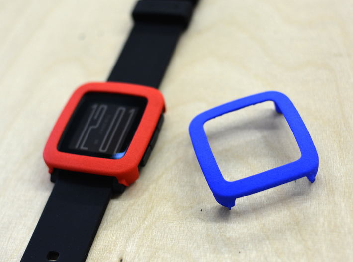 Pebble Time / Time 2 cover / bumper 3d printed Red vd Blue