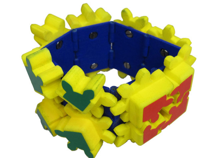 Gear Bracelet Double Row 3d printed